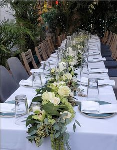 Wedding Table Garland, Wedding Reception Centerpieces, Eucalyptus Centerpiece, Seeded Eucalyptus, White Roses, Orchids, Vines, Wedding Flowers, Table Settings