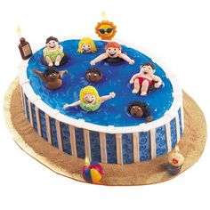 The Water's Fine! Cake - Make a splash! Outfit a blue-iced Oval Pan cake with royal icing bathing beauties; add a Beach Party 4-Piece Candle Set when a birthday's on tap or when you need a surfs-up lift.
