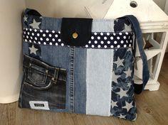 """Schultertaschen - Jeanstasche """" STARS """" - ein Designerstück von FADENREICH-elt bei DaWanda"""