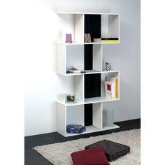 Bookcase Castleton Home Colour: White/Black Home, Leaning Bookcase, Bookcase, Cube Storage, Homestead Living, Furniture, Shelves, House Colors, Corner Display Unit