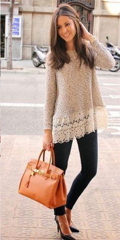 Beige Lace Sweater