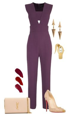 """Purple Passion"" by colliewood27 ❤ liked on Polyvore featuring Cushnie Et Ochs, Christian Louboutin, Yves Saint Laurent, Topshop, Just Cavalli and Ellis Faas"