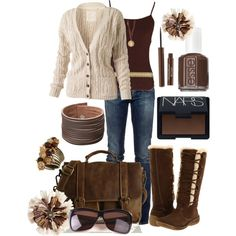 """Brown and Cream"" by missyfer88 on Polyvore"