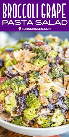 Broccoli Grape Pasta Salad Broccoli Grape Pasta Salad – great for all your summer cookouts! SO easy to make! Mayo Pasta Salad Recipes, Broccoli Pasta Salads, Salad Recipes Video, Salad Dressing Recipes, Sin Gluten, Quinoa, Yogurt, Pasta Salad For Kids, Dog Food Recipes