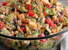 what you'll need dressing 1 cup ranch dressing 2 Tbsp taco seasoning, hot or mild salad 3 cups chicken, cooked, cooled and diced 4 cups Romaine lettuce, chopped, about 1 head 2 Roma tomatoes, diced 1 cucumber, seeded and diced 1 cup corn kernels, fresh or frozen 4-5 green onions, sliced 1 15 oz can …