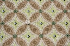 1940's Vintage Wallpaper - Green and Brown Geometric