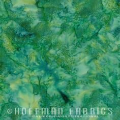 Hoffman 1895 Watercolors Solid Batik Fabric 1895-237 Aventurine Green Blue BTY