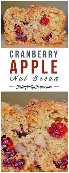 Cranberry-Apple-Nut Bread I am so glad that I came across this Cranberry-Apple-Nut Bread recipe. Every week I look at the cranberry bakery bread in the Publix ad - Cranberry-Apple-Nut Bread Recipe Apple Nut Bread Recipe, Cranberry Nut Bread, Cranberry Recipes, Apple Recipes, Baking Recipes, Apple Loaf, Healthy Nut Bread Recipe, Publix Recipes, Healthy Breads