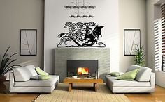 Battle knight dragon Wall Decor Vinyl Decal Sticker MURAL Interior Design AR295