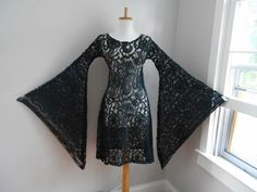 Vintage 1960s 1970s Sheer BLACK Crochet Lace Angel Bell by atomix