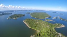aerial, beautiful islands (picture taken today June you can see the city in background Island Pictures, Archipelago, Story Of My Life, Beautiful Islands, Helsinki, Wilderness, Remote, June, River