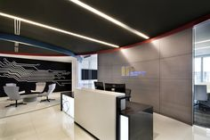 IPSoft: The stunning, hi-tech-themed office of IPsoft was designed by STG Design in 2015. It reflects the company's values and ethics as a science group, and gives workers a boost through a simple colour palette that emphasises the clean lines and sleek finishes of the company's work.