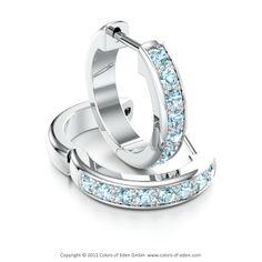 DARLING   Classical Hoop Earrings with Aquamarine in Platinum