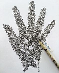 visothkakvei - Protect our nature and wildlife Zentangle Drawings, Doodle Drawings, Zentangles, Motifs Organiques, Nature Symbols, Hand Doodles, Doodle Art Designs, Doodle Ideas, Pen Illustration
