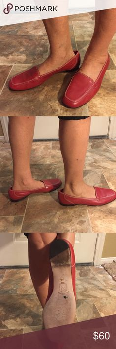 Women Red Moccasins - Nordstrom Red moccasins, leather.  like new. Nordstrom Shoes Flats & Loafers