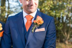 Navy Groom Suit Tie Rose Buttonhole Charming Orange Navy Rustic Wedding http://www.kayleighpope.co.uk/