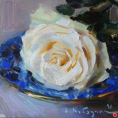 February Rose by Elena Katsyura Oil ~ 6 in x 6 in