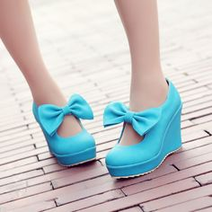 2015 Womens High Wedge Heels Platform Sweet Bowtie bowknot Creeper Pumps Shoes in Clothing, Shoes & Accessories, Women's Shoes, Heels | eBay