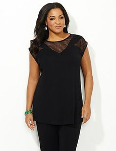 Discover perfectly versatile pieces from our AnyWear Collection that mix, match and pack beautifully, wherever life takes you. Paneled crochet insets at the neckline create a modern geometric take on this solid layer. Soft, stretch fabric gives this inspired top a comfortable fit that lasts all day. Scoop neckline. Catherines tops are perfectly proportioned for the plus size woman. catherines.com