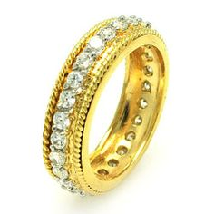 Sterling Silver Gold Plated border Band ring Sea of Diamonds. $43.11. Sterling Silver
