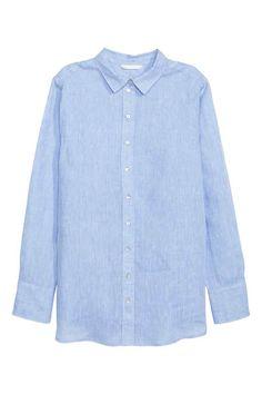 9425b5e9502d8e h m Linen shirt  Linen shirt with pearly buttons