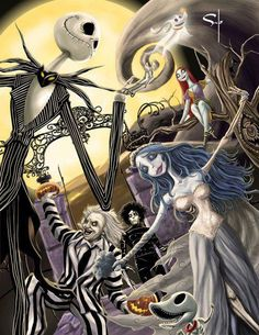 Halloween-homage to Tim Burton w/ Beetjuice, Edward Scissorhands, The Corpse Bride, and The Nightmare before Christmas. Estilo Tim Burton, Art Tim Burton, Tim Burton Stil, Tim Burton Kunst, Film Tim Burton, Tim Burton Characters, Tim Burton Drawings, Tim Burton Artwork, Movie Characters