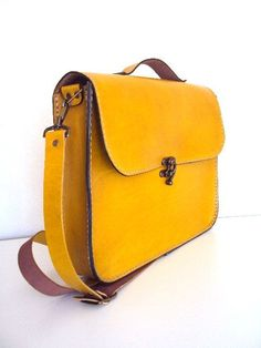 Handmade Laptop Bag Yellow Leather Briefcase Messenger by ammaciyo - bags, shoulder, handmade, design, fabric, travel bag *ad