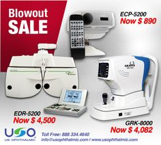 http://usophthalmic.com/Weekly-Specials Blowout SALE !!!  Chart Projector ECP-5200 Now $890 Autorefractor Keratometer GRK-8000 Now $4082 Digital Refractor EDR-5200 Now $4500