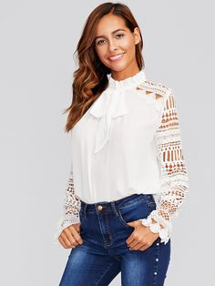 Geo Lace Sleeve Frilled Tie Neck Blouse -SheIn(Sheinside)