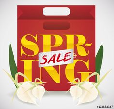 Shopping Bag for Spring Sales Season Spring Sale, Illustration, Orchids, Shopping Bag, Seasons, Bags, Handbags, Seasons Of The Year, Illustrations