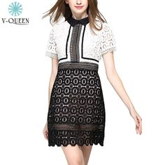 V-QUEEN Women Elegant Sexy Mini Dress 2016 New Spring Summer High Waist Lace Hollow Out Patchwork Vintage A-Line Dress B1604048