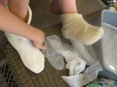 Age 13 ~ Handwork ~ Wet Felted Slippers
