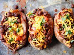 Vegetarian Black Bean Chili Stuffed Sweet Potatoes - only 330 calories for one over-stuffed potato!