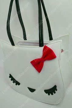 Cute Sleeping Meow Bow PU Lolita Handbag