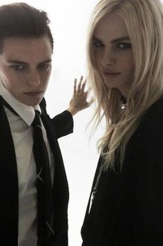 """Erika Linder and Andrej Pejic.  Behind the scenes of Battle of The Sexes   """"FORWARD by Elyse Walker""""  Photo from Lee Williams"""