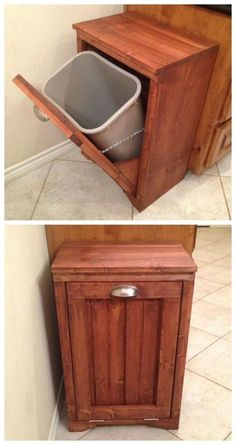 Tilt Out Wooden Trash Bin
