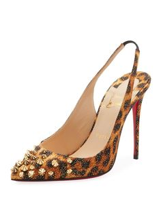 22b1ded912c  945 Drama Sling 100mm Spike Leopard Red Sole Pumps Red Sole
