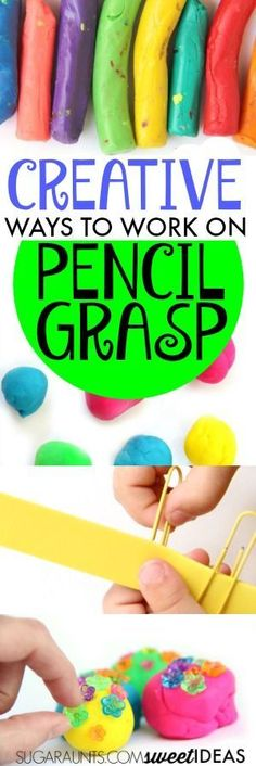 Improving Pencil Grasp with Fine Motor Play - The OT Toolbox Improving pencil grasp with Fine Motor Play<br> These fine motor play ideas are FUN and will work on the skills kids need to improve pencil grasp. Kids will love working on the skills they need! Preschool Fine Motor Skills, Preschool Writing, Motor Skills Activities, Gross Motor Skills, Preschool Learning, Sensory Activities, In Kindergarten, Learning Activities, Therapy Activities