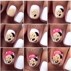 Nails and manicure step by step. New Nail Art, Cute Nail Art, Nail Art Diy, Diy Nails, Cute Nails, Pretty Nails, Minnie Mouse Nail Art, Mickey Nails, Mickey Mouse