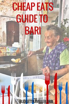 Cheap Eats Guide to Bari. Join us on a virtual tour of the gastronomic delights of Bari, one of the most important cities of Puglia, which lies at the southern tip of Italy. The street food here is amazing. Sa our orecchiette and sgagliozze made by the one and only 'Maria of Sgagliozze'. She is 85 and cooks them in front of her house for 1-3 euros. She is a living legend and has made it to Newsweek's 101 best places to eat street food in the world. Discover what else made by VITO…