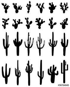 """Download the royalty-free vector """"Black silhouettes of different cactus, vector"""" designed by ratkom at the lowest price on Fotolia.com. Browse our cheap image bank online to find the perfect stock vector for your marketing projects!"""