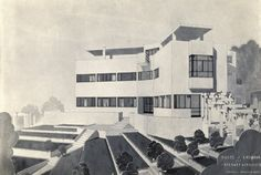 Sketch of High and Over, the UK modernist house designed by Connell Ward & Lucas (1929-31)
