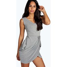 Boohoo Night Davina Wrap Over Detail Tulip Shape Dress ($20) ❤ liked on Polyvore featuring dresses, grey marl, going out dresses, v neck dress, night out dresses, sexy party dresses and sexy wrap dress