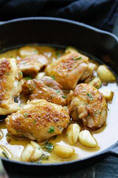 Crazy delicious skillet chicken with a creamy garlic sauce. Perfect with pasta and dinner is ready in 20 minutes!!