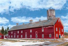 Nice winter scene of a classic red barn. Great image of Ankens Barn and farmland in upstate NY. Family farms are dwindling in numbers and I love seeing a beautiful red barn.  $38 for a giclee print of my original painting.
