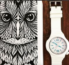 Introducing HOOT Night Owl White Blue! Shop online: link in bio #owls #design #art #urban #sportychic #luxury #swissmade #illustration #shopping #timepiece #watches