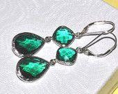 Dangle earrings- sterling silver and emerald diamond green glass. Emerald Earrings