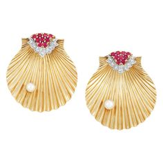 Pair of Gold, Platinum, Ruby, Diamond and Cultured Pearl Shell Clips, Cartier