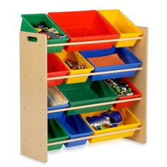 Primary Sort And Store Organizer  by Honey-can-do: The perfect organizer for children's playrooms or bedrooms, these colorful bins make organizing fun and easy, even for the little ones! Effortlessly sort toy cars, building blocks, action figures, craft supplies and more into the sturdy plastic bins. The natural wood frame holds 12 containers of varying sizes to keep everything tidy. Each bin measures 5 inches high. Bins are removable from the shelves making cleanup time fast and simple.