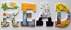 Little Mister READ Letters -- Set of 4 Hand Painted Walls, Hand Painted Canvas, Letter Set, Letter Wall, Read Letters, Painting Wooden Letters, Storybook Characters, Alphabet Wall, Quirky Gifts